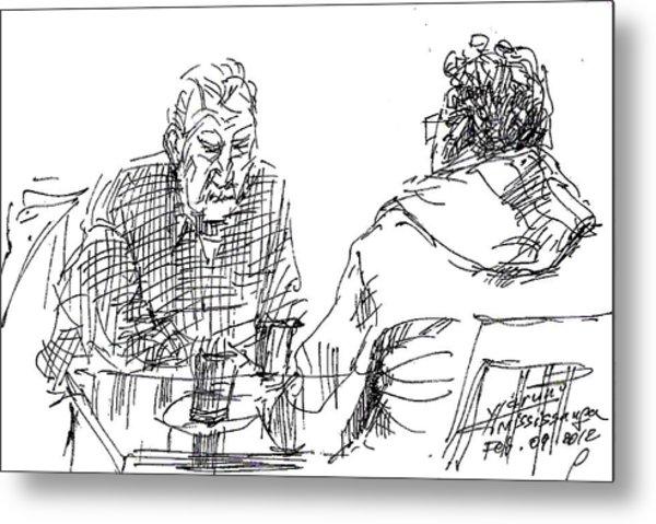 Men At The Cafe Metal Print