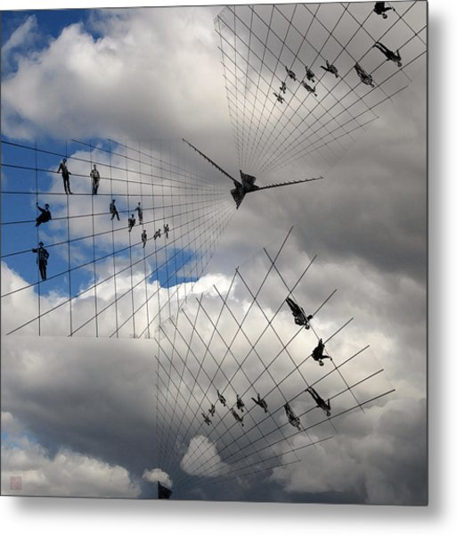 Men Hanging On Metal Print by Roger Smith