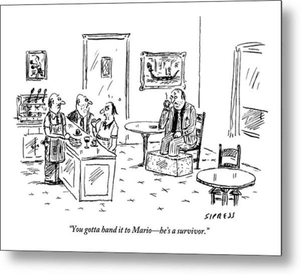 Men In A Restaurant Discuss A Patron Whose Feet Metal Print