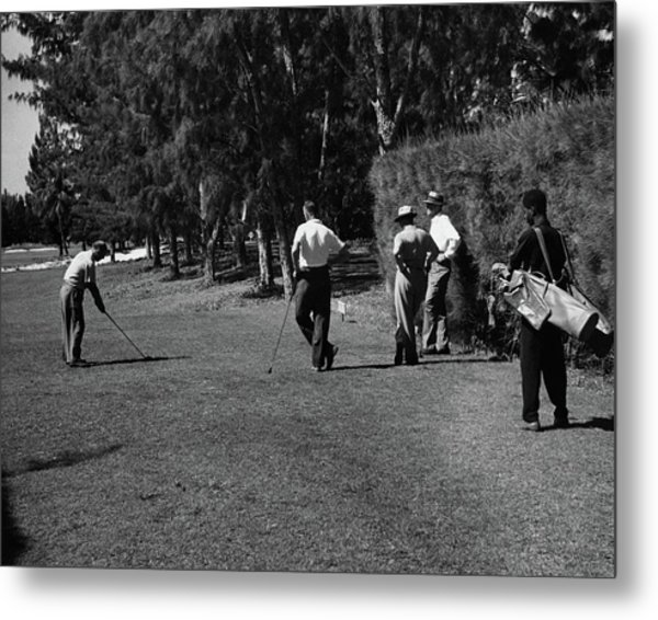 Men Playing Golf At The Jupiter Island Club Metal Print by Serge Balkin