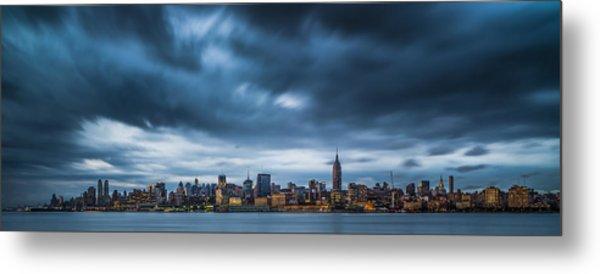 Menacing Sky Over Manhattan Metal Print by Chris Halford