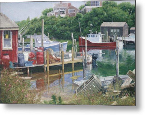 Menemsha Harbor Reds - Martha's Vineyard Metal Print by Julia O'Malley-Keyes