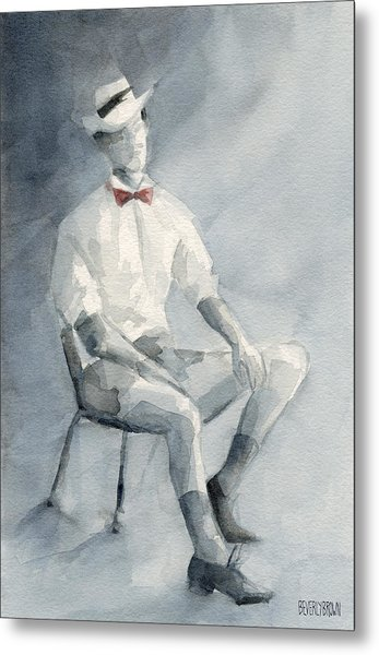 Mens Fashion Illustration Art Print Hat And Bowtie Metal Print by Beverly Brown