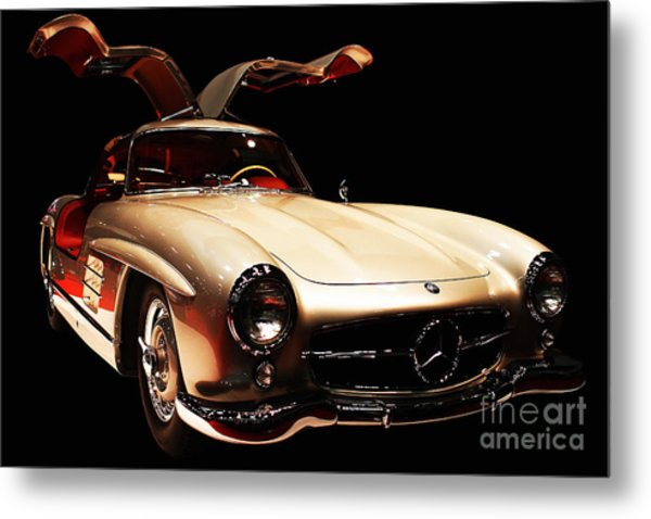 Mercedes 300sl Gullwing . Front Angle Black Bg Metal Print