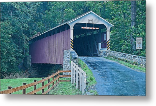 Mercer's Mill Covered Bridge Metal Print