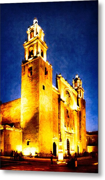 Merida Cathedral Glowing At Night Metal Print by Mark Tisdale