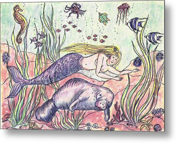 Mermaid And The Manatee Metal Print