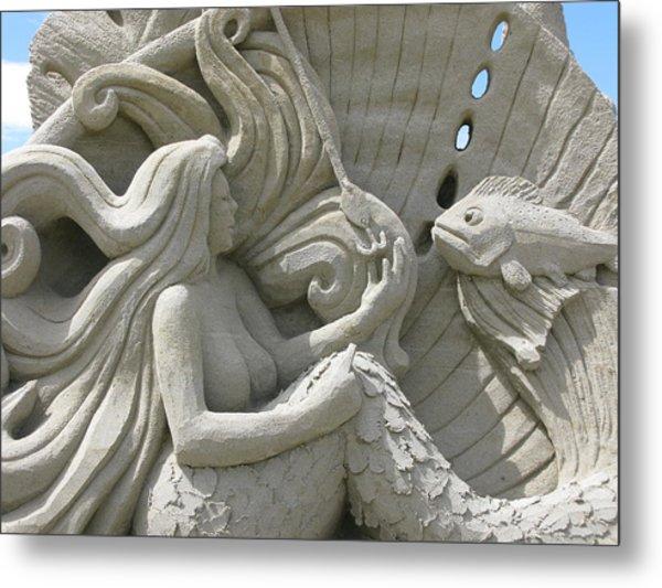 Mermaid Sand Sculpture Metal Print