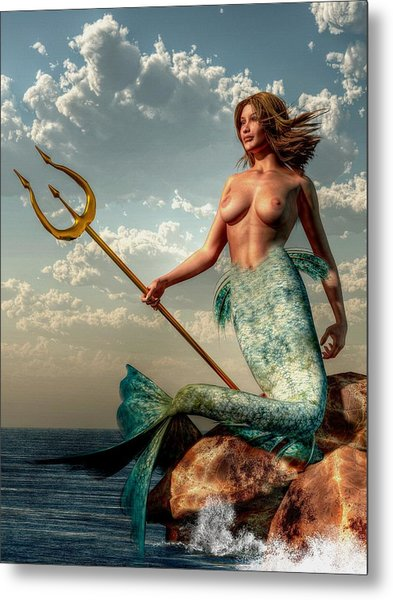 Mermaid With Golden Trident Metal Print