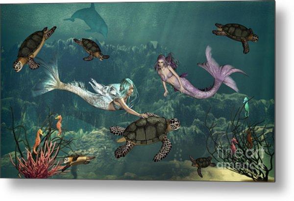 Mermaids At Turtle Springs Metal Print
