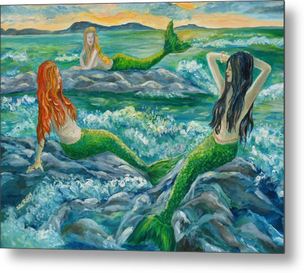 Mermaids On The Rocks Metal Print