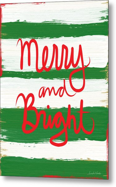 Merry And Bright- Greeting Card Metal Print