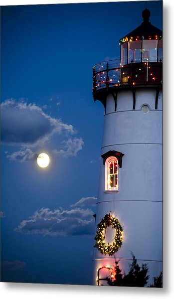 Merry Christmas Moon Metal Print