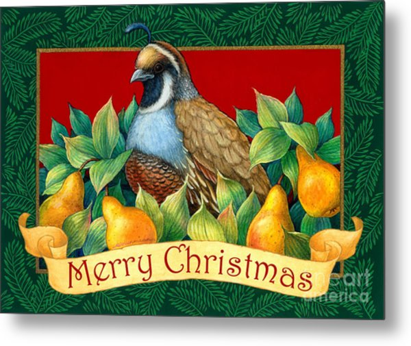 Merry Christmas Partridge Metal Print