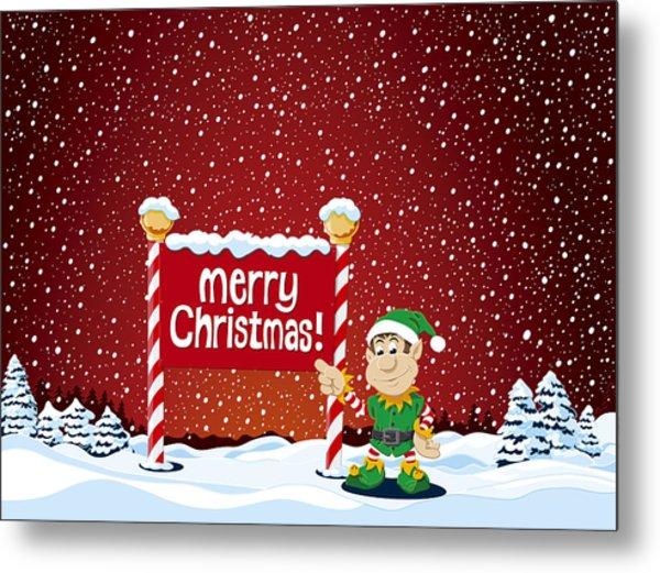 Merry Christmas Sign Christmas Elf Winter Landscape Metal Print