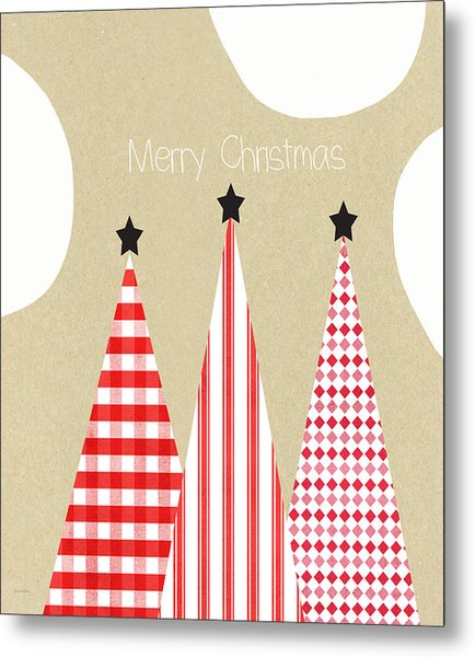 Merry Christmas With Red And White Trees Metal Print