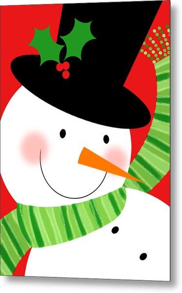 Merry Snowman Metal Print