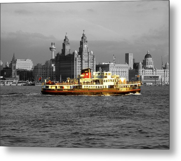Mersey Ferry And Liverpool Waterfront Spot Colour Metal Print
