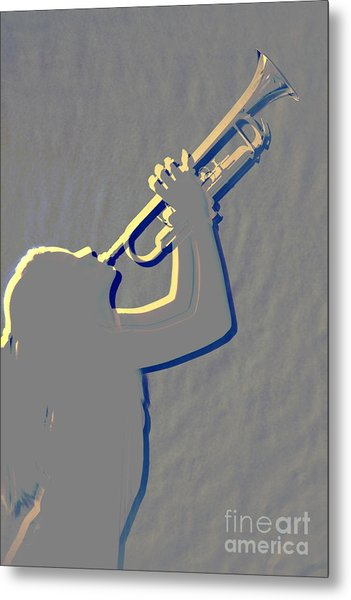 Metal Print Of Trumpet Music Instrument And Girl 3016.04 Metal Print