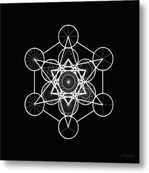 Metatron Wheel Cube Metal Print