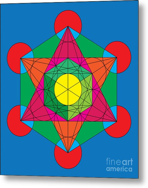 Metatron's Cube In Colors Metal Print