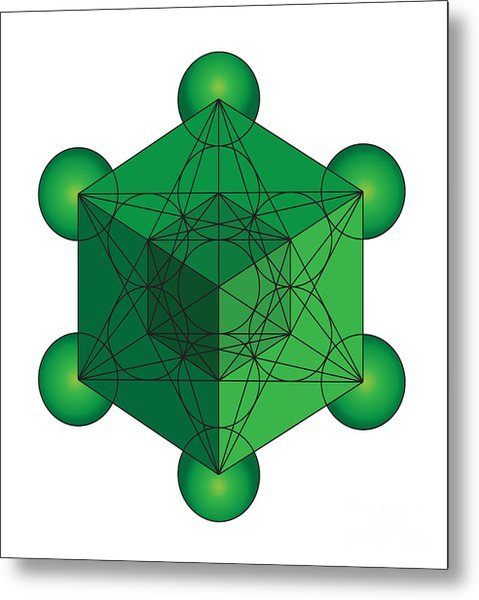 Metatron's Cube In Green Metal Print
