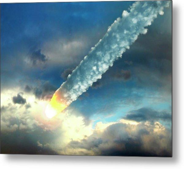 Meteor In The Earths Atmosphere, Artwork Metal Print by Roger Harris