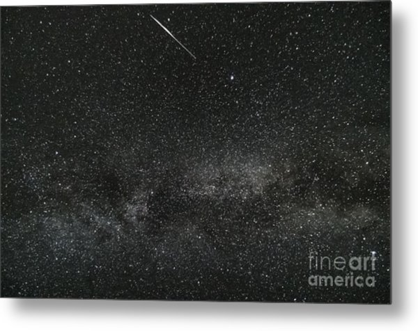 Meteor With The Milky Way Metal Print