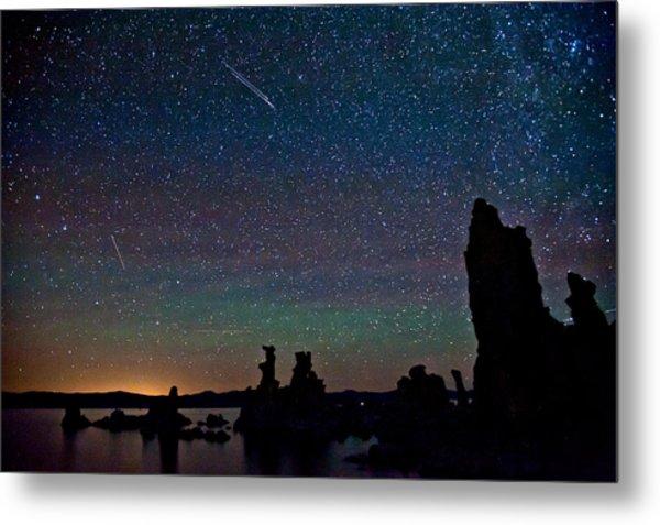Meteors Over Mono Lake Metal Print