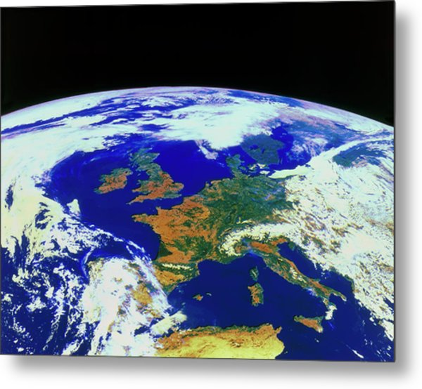 Meteosat Image Of Europe Metal Print by Esa/kevin A Horgan/science Photo Library