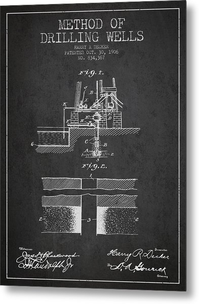 Method Of Drilling Wells Patent From 1906 - Dark Metal Print