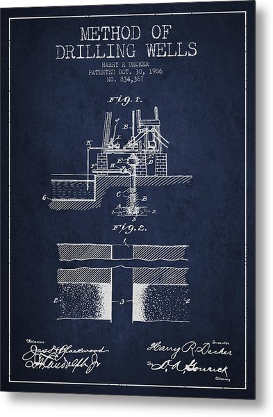 Method Of Drilling Wells Patent From 1906 - Navy Blue Metal Print