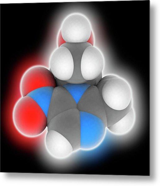 Metronidazole Drug Molecule Metal Print by Laguna Design