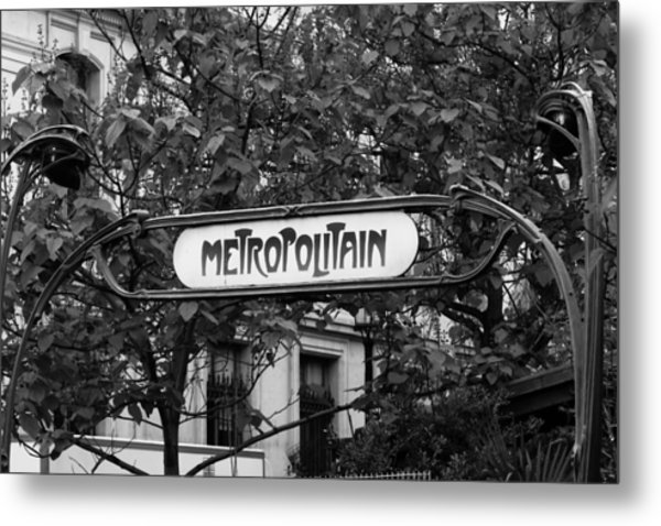 Metropolitain - Bw Metal Print by Carrie Warlaumont