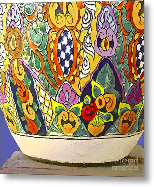 Mexican Ceramic Pottery Metal Print by Linda  Parker