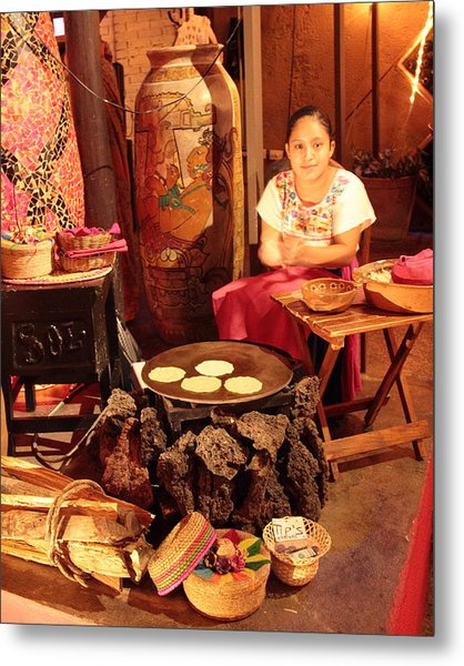 Mexican Girl Making Tortillas Metal Print