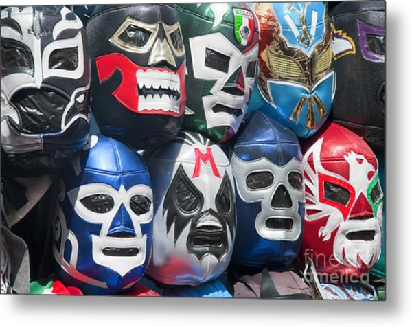 Mexican Head Masks Metal Print