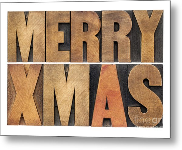 Meyy Xmas In Wood Type Metal Print