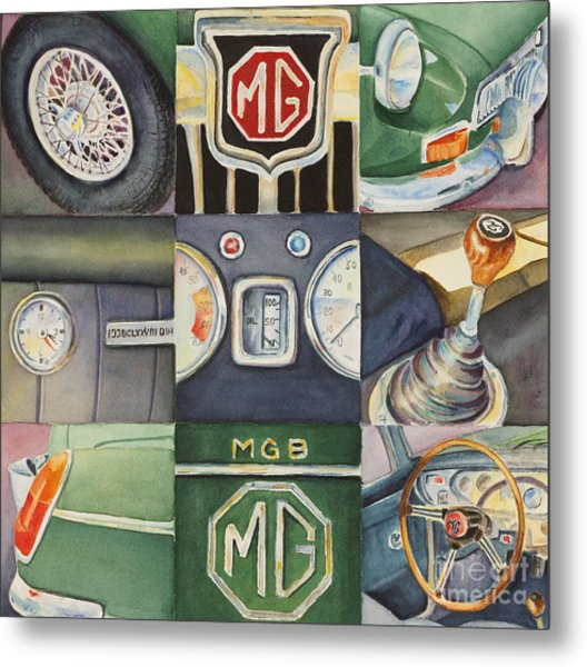 Mgb Car Collage Metal Print