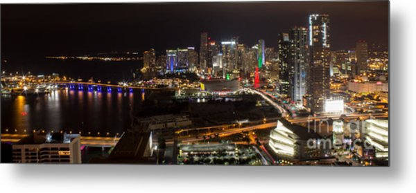 Miami After Dark II Skyline  Metal Print