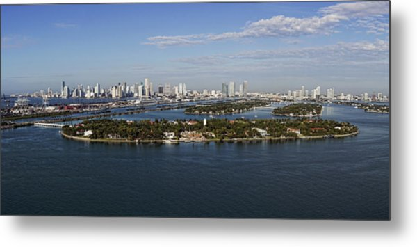 Miami And Star Island Skyline Metal Print