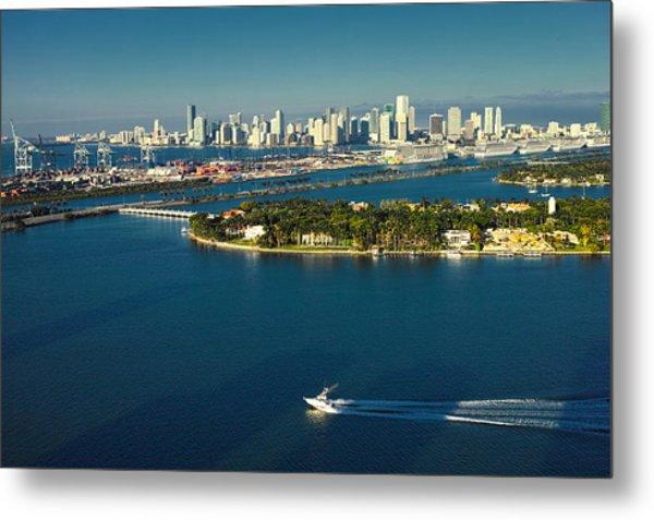 Miami City Biscayne Bay Skyline Metal Print