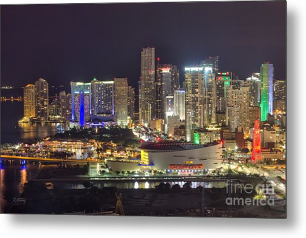 Miami Downtown Skyline American Airlines Arena Metal Print