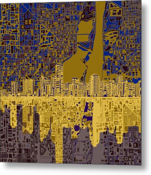 Miami Skyline Abstract 3 Metal Print
