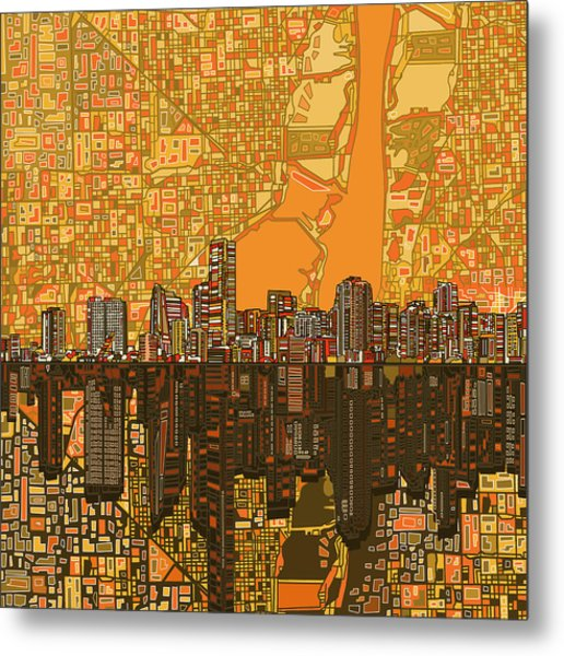 Miami Skyline Abstract 5 Metal Print