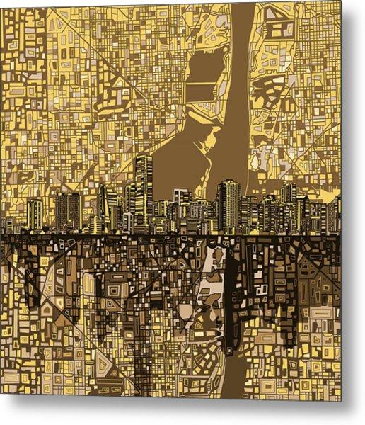 Miami Skyline Abstract 6 Metal Print