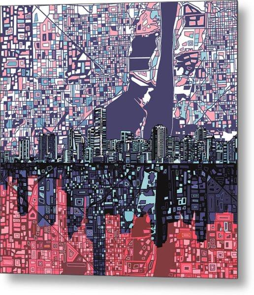 Miami Skyline Abstract Metal Print