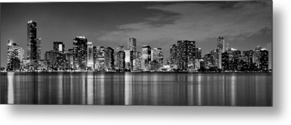Miami Skyline At Dusk Black And White Bw Panorama Metal Print