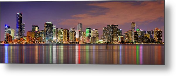 Miami Skyline At Dusk Sunset Panorama Metal Print