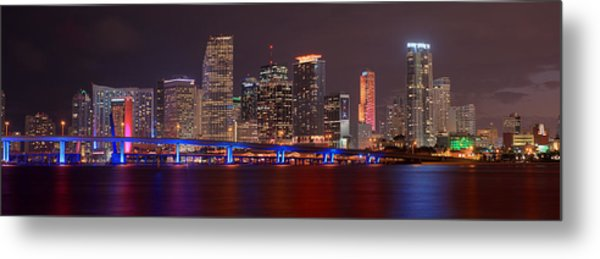 Miami Skyline At Night Panorama Color Metal Print
